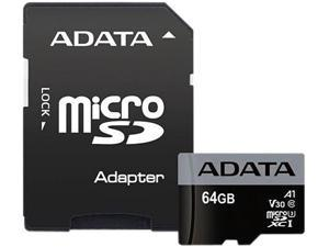 ADATA Premier Pro 64GB microSDXC Flash Card w/ Adapter Model AUSDX64GUI3V30SA1-RA1