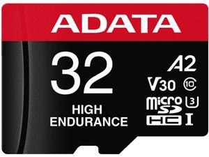 ADATA 32GB High Endurance microSDHC UHS-I U3 / Class 10 V30 A2 Memory Card with SD Adapter, Speed Up to 100MB/s (AUSDH32GUI3V30SHA2-RA1)
