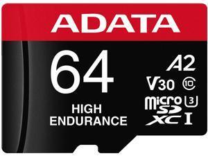 ADATA 64GB High Endurance microSDXC UHS-I U3 / Class 10 V30 A2 Memory Card with SD Adapter, Speed Up to 100MB/s (AUSDX64GUI3V30SHA2-RA1)