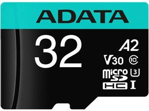 ADATA 32GB Premier Pro microSDHC UHS-I U3 / Class 10 V30 A2 Memory Card with SD Adapter, Speed Up to 100MB/s (AUSDH32GUI3V30SA2-RA1)