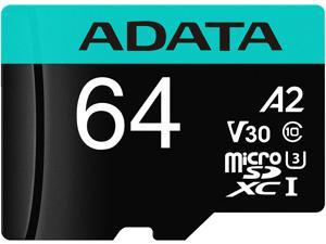 ADATA 64GB Premier Pro microSDXC UHS-I U3 / Class 10 V30 A2 Memory Card with SD Adapter, Speed Up to 100MB/s (AUSDX64GUI3V30SA2-RA1)