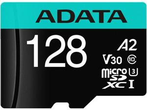 ADATA 128GB Premier Pro microSDXC UHS-I U3 / Class 10 V30 A2 Memory Card with SD Adapter, Speed Up to 100MB/s (AUSDX128GUI3V30SA2-RA1)