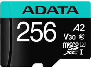 ADATA 256GB Premier Pro microSDXC UHS-I U3 / Class 10 V30 A2 Memory Card with SD Adapter, Speed Up to 100MB/s (AUSDX256GUI3V30SA2-RA1)