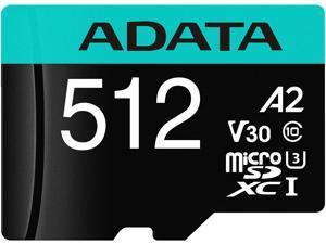 ADATA 512GB Premier Pro microSDXC UHS-I U3 / Class 10 V30 A2 Memory Card with SD Adapter, Speed Up to 100MB/s (AUSDX512GUI3V30SA2-RA1)