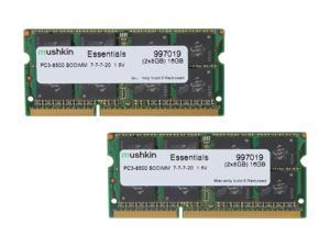 Mushkin Enhanced Essentials 16GB (2 x 8GB) 204-Pin DDR3 SO-DIMM DDR3 1066 (PC3 8500) Laptop Memory Model 997019
