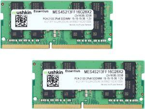 Mushkin Enhanced Essentials 32GB (2 x 16GB) 260-Pin DDR4 SO-DIMM DDR4 2133 (PC4 17000) Laptop Memory Model MES4S213FF16G28X2