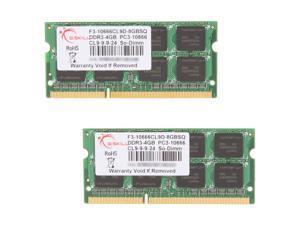 G.SKILL 8GB (2 x 4GB) 204-Pin DDR3 SO-DIMM DDR3 1333 (PC3 10666) Laptop Memory Model F3-10666CL9D-8GBSQ