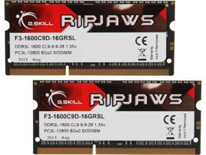 G.SKILL Ripjaws Series 16GB (2 x 8GB) 204-Pin DDR3 SO-DIMM DDR3L 1600 (PC3L 12800) Laptop Memory Model F3-1600C9D-16GRSL