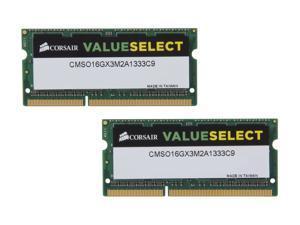 CORSAIR ValueSelect 16GB (2 x 8GB) 204-Pin DDR3 SO-DIMM DDR3 1333 (PC3 10600) Laptop Memory Model CMSO16GX3M2A1333C9
