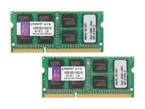 Kingston 16GB (2 x 8GB) 204-Pin DDR3 SO-DIMM DDR3 1600 Laptop Memory Model KVR16S11K2/16