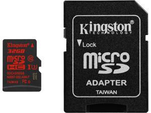Kingston 32GB MicroSDHC UHS-I/U3 Class 10 Memory Card with Adapter, Speed Up to 90 MB/s (SDCA3/32GB)