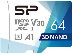Silicon Power 64GB Superior Pro microSDXC UHS-I (U3), V30 4K A1 Memory Card with Adapter (SP064GBSTXDU3V20AB)
