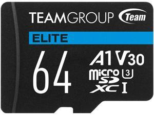 Team 64GB Elite microSDXC UHS-I U3, V30, A1, 4K UHD Memory Card with SD Adapter, Speed Up to 90MB/s (TEAUSDX64GIV30A103)