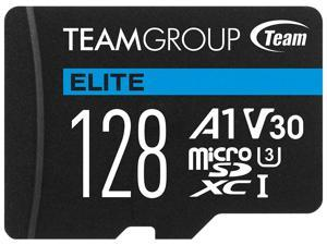 Team 128GB Elite microSDXC UHS-I U3, V30, A1, 4K UHD Memory Card with SD Adapter, Speed Up to 90MB/s (TEAUSDX128GIV30A103)