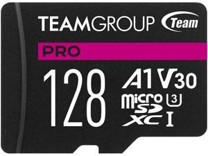 Team Group 128GB Micro SDXC PRO A1 U3 V30 Card Speed Up to 100MB/s (TPUSDX128GIV30A1P03)