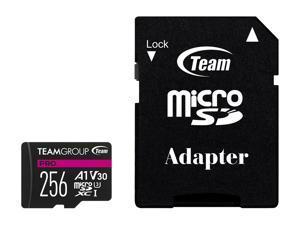 Team Group 256GB Micro SDXC PRO A1 U3 V30 Card Speed Up to 100MB/s (TPUSDX256GIV30A1P03)