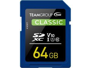 Team Group 64GB Classic SD Card U1 V10 C10 Card Read/Write Speed Up to 80/15MB/s (TSDXC64GIV1001)