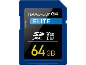 Team Group 64GB Elite SD Card UHS-I U3 V30 Read/Write Speed Up to 90/45MB/s (TESDXC64GIV3001)