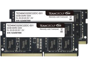 Team Elite 64GB (2 x 32GB) 260-Pin DDR4 SO-DIMM DDR4 3200 (PC4 25600) Laptop Memory Model TED464G3200C22DC-S01