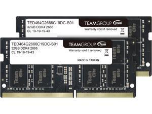 Team Elite 64GB (2 x 32GB) 260-Pin DDR4 SO-DIMM DDR4 2666 (PC4 21300) Laptop Memory Model TED464G2666C19DC-S01