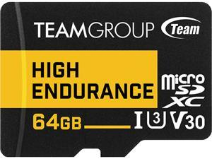 Team 64GB High Endurance microSDXC UHS-I U3, V30 Memory Card with Adapter, Speed Up to 100MB/s (THUSDX64GIV3002)
