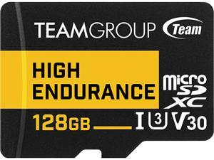 Team 128GB High Endurance microSDXC UHS-I U3, V30 Memory Card with Adapter, Speed Up to 100MB/s (THUSDX128GIV3002)