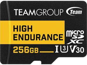 Team 256GB High Endurance microSDXC UHS-I U3, V30 Memory Card with Adapter, Speed Up to 100MB/s (THUSDX256GIV3002)