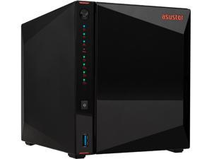 Asustor AS5304T | Gaming Inspired Network Attached Storage | 1.5 GHz Quad-Core, Two 2.5 GbE Port, 4GB RAM DDR4, 4GB eMMC Flash Memory | Personal Private Cloud (4 Bay Diskless NAS)