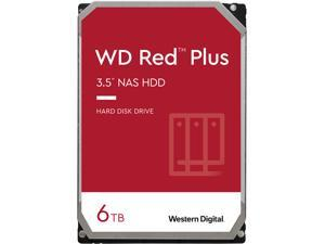WD Red Plus 6TB NAS Hard Disk Drive - 5400 RPM Class SATA 6Gb/s, CMR, 64MB Cache, 3.5 Inch - WD60EFRX