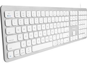 Macally Ultra Slim USB Wired Keyboard with 2 USB Ports For Mac
