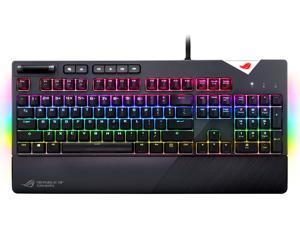 ASUS ROG Strix Flare RGB Mechanical Gaming Keyboard with Cherry MX Speed Silver Switches, Aura Sync RGB Lighting, Customizable Badge, USB Pass-Through and Media Controls