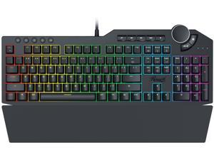 Rosewill Mechanical Gaming Keyboard, 15 RGB Backlit Modes, 2-Port USB Passthrough, Media Keys and Multifunctional Volume Dial, Brown Switches - NEON K90 RGB BR