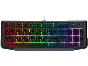 Rosewill NEON K42 RGB Membrane Mechanical Gaming Keyboard, 26-Key Anti-Ghosting, 6 Multimedia Hotkeys, 8 LED Backlit Modes