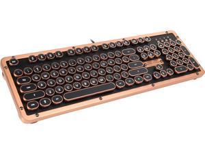 Retro Classic Mechanical Keyboard, Black Leather with Copper ZA Trim, White LED
