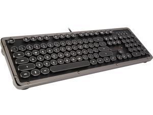 Retro Classic Mechanical Keyboard, Black Leather with Black ZA Trim, White LED