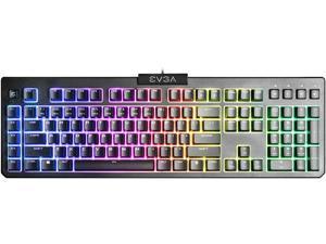 EVGA Z12 RGB Gaming Keyboard, RGB Backlit LED, 5 Programmable Macro Keys, Dedicated Media Keys, Water Resistant, 834-W0-12US-KR
