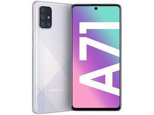 "Samsung Galaxy A71 (A715F) 6.7"" Super AMOLED Plus Screen, 128GB Memory + 6GB RAM, in-Screen Fingerprint, US + Global 4G LTE, GSM Unlocked, International Model - (Prism Crush Silver)"