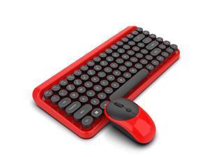 2.4Ghz Punk Retro Dot Keyboard Office Notebook Wireless Keyboard Mouse Set (Wireless Keyboard + Wireless Mouse + Battery)