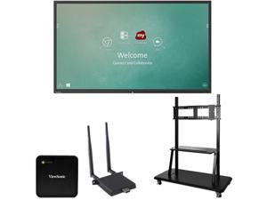 "ViewSonic IFP8650-C2 Black 86"" USB Infrared, 20-Point Touch ViewBoard 4K Ultra HD Interactive Flat Panel Chrome Bundle 2"