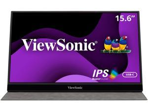 ViewSonic VG1655 15.6 Inch 1080p Portable Monitor with 2 Way Powered 60W USB C, IPS, Eye Care, Dual Speakers, Frameless Design, Built in Stand with Cover