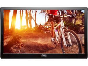 "AOC E1659FWU 15.6"" USB 3.0 USB-powered portable monitor w/ case, HD 1366x768, 8ms, Built-in stand, Auto-pivot, VESA compatible"