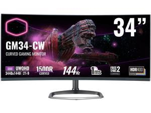 """Cooler Master CMI-GM34CW-US 34"""" UWQHD 3440 x 1440 (2K) 144 Hz HDMI, DisplayPort FreeSync 2 Compatible, G-Sync Compatible Built-in Speakers Curved Gaming Monitor"""