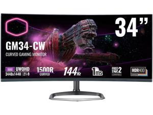"""Cooler Master CMI-GM34-CW-US 34"""" UWQHD 3440 x 1440 (2K) 144 Hz HDMI, DisplayPort, Audio FreeSync 2 Compatible & G-Sync Compatible Built-in Speakers Curved Gaming Monitor"""