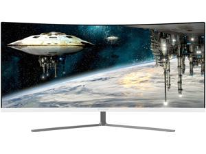 "Viotek GN34CW 34"" White 21:9 Ultrawide Curved QHD Gaming Monitor, 100Hz, 1440p, FreeSync, FTS/RTS , VESA mount"