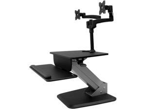 StarTech BNDSTSDUAL Black Dual Monitor Sit-to-stand Workstation height adjustment and a dual monitor mount Maximum height adjustment 16.6 in 360 degree display rotation