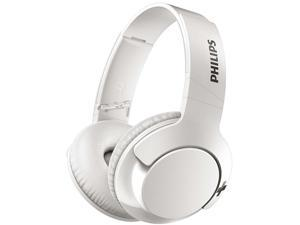Philips SHB3175WT BASS+ Wireless Bluetooth Closed-Back Over-Ear Headphones with Mic - White