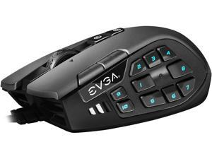 EVGA X15 MMO Gaming Mouse, 8k, Wired, Black, Customizable, 16,000 DPI, 5 Profiles, 20 Buttons, Ergonomic 904-W1-15BK-KR