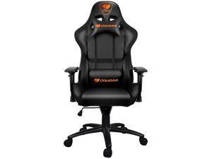 Cougar Armor Black Gaming Chair with Breathable Premium PVC Leather and Body-embracing High Back Design