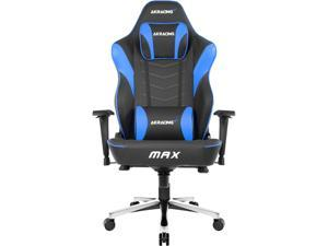 AKRacing Master Series MAX PU Leather Gaming Chair, 4D Adjustable Armrests, 180 Degrees Recline - Black/Blue (AK-MAX-BK/BL)
