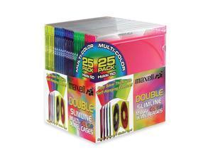 maxell 190131 Double Slimline Jewel Cases - Multi-Color - 25 Packs